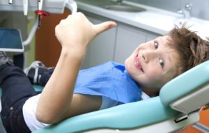 A child having a dental exam.